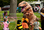 BETHLEHEM,  CT-052017JS17- A T-Rex dances with children during the seventh annual Fairy Festival Saturday at the Bellamy-Ferriday House and Gardens in Bethlehem. <br /> Jim Shannon Republican-American