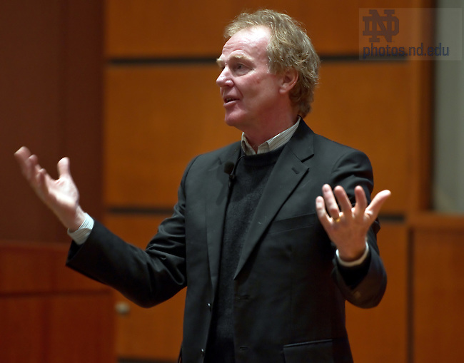 "Feb. 4, 2011; Peter M. Senge, Ph.D. speaks at Jordan Auditorium as part of the ""Ten Years Hence"" lecture series.  Senge is a Senior Lecturer at the Massachusetts Institute of Technology. He is also Founding Chair of SoL, the Society for Organizational Learning...Photo by Matt Cashore/University of Notre Dame"