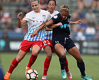 Cary, North Carolina  - Sunday May 21, 2017: Julie Ertz, Christen Press, and Lynn Williams during a regular season National Women's Soccer League (NWSL) match between the North Carolina Courage and the Chicago Red Stars at Sahlen's Stadium at WakeMed Soccer Park. Chicago won the game 3-1.
