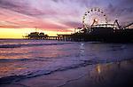 The Santa Monica Pier at dusk