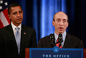 Chicago, IL - December 18, 2008 -- Gary Gensler speaks after being introduced by United States President-elect Barack Obama to head the Commodities Futures Trading Commission (CFTC) during a press conference at the Drake Hotel December 18, 2008 in Chicago, Illinois. At the press conference, Obama also named Mary Schapiro, CEO of the Financial Industry Regulatory Authority (FINRA), as his choice to head the U.S. Securities and Exchange Commission and Daniel Tarullo to the Federal Reserve Board of Governors. .Credit: Scott Olson - Pool via CNP