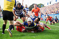 Dave Attwood of Bath Rugby celebrates his first try in the second half. Aviva Premiership match, between Bath Rugby and Newcastle Falcons on September 10, 2016 at the Recreation Ground in Bath, England. Photo by: Patrick Khachfe / Onside Images