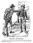 """""""Ireland's Opportunity."""" Irish-American (from the Fighting Front). """"Say, you're missing the scrap of your life."""" Pat. """"An' how d'ye know I'll not be in it yet, now they're makin' conscription voluntary?"""""""