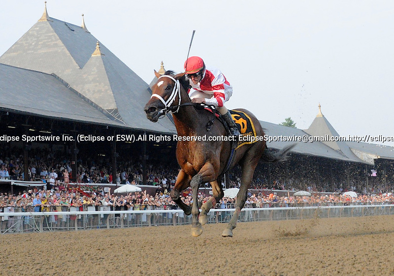 Havre de Grace (no. 6), ridden by Ramon Dominguez and trained by Larry Jones, wins the 58th running of the grade 1 Woodward Stakes for three year olds and upward on September 3, 2011 at Saratoga Race Track in Saratoga Springs, New York.  (Bob Mayberger/Eclipse Sportswire)