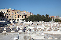 Tombs in the Jewish cemetery in the South West corner of the Mellah or Jewish quarter, established in 1438 when the Jews were driven out of the old town to al-Mallah, Fes, Fes-Boulemane, Northern Morocco. The tombs in separate enclosures are of rabbis. The oldest tombs date to the 16th century. In the 9th century, Idriss II admitted many Jews to Fes from Andalusia, the Jewish community thrived here until the 11th century. Picture by Manuel Cohen