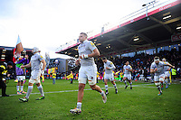 The Bath Rugby team run out onto the pitch. Aviva Premiership match, between Harlequins and Bath Rugby on November 27, 2016 at the Twickenham Stoop in London, England. Photo by: Patrick Khachfe / Onside Images
