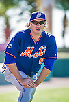 13 March 2014: New York Mets outfielder Matt den Dekker warms up prior to a Spring Training game against the Washington Nationals at Space Coast Stadium in Viera, Florida. The Mets defeated the Nationals 7-5 in Grapefruit League play. Mandatory Credit: Ed Wolfstein Photo *** RAW (NEF) Image File Available ***