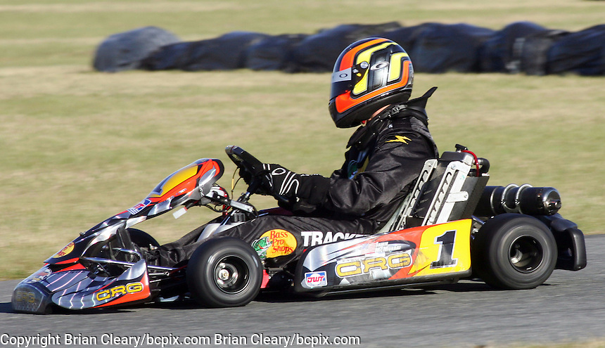 NASCAR driver Jamie McMurray  competes in a go-cart race at Daytona International Speedway on Tuesday, December 29, 2007. (Photo by Brian Cleary/www.bcpix.com)