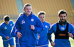 St Johnstone Training&hellip;.17.02.17<br />Brain Easton Richie Foster pictured during training this morning at McDiarmid Park ahead of tomorrow&rsquo;s trip to Dingwall<br />Picture by Graeme Hart.<br />Copyright Perthshire Picture Agency<br />Tel: 01738 623350  Mobile: 07990 594431