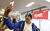 Crisis at Christmas, London, Great Britain <br /> 23rd December 2016 <br /> Tony from Hackney with selfie hat <br /> First day of operations at one of the Crisis centres in London.<br /> <br /> Crisis at Christmas is a lifeline for thousands of homeless people across the UK, offering support, companionship and vital services over the festive period.<br />  <br /> Crisis at Christmas provides immediate help for homeless people at a critical time - one in four homeless people spends Christmas alone - but our work does not end there. We encourage guests to take up the life-changing opportunities on offer all year round at our centres across the country. <br />  <br /> Crisis is the national charity for homeless people.<br /> <br /> Crisis reveals scale of violence and abuse against rough sleepers as charity opens its doors for Christmas<br /> <br /> People sleeping on the street are almost 17 times more likely to have been victims of violence and 15 times more likely to have suffered verbal abuse in the past year compared to the general public, according to new research from Crisis, the national charity for homeless people.<br />  <br /> <br /> Photograph by Elliott Franks <br /> Image licensed to Elliott Franks Photography Services
