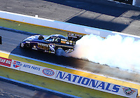 Feb 3, 2016; Chandler, AZ, USA; NHRA funny car driver Jack Beckman during pre season testing at Wild Horse Pass Motorsports Park. Mandatory Credit: Mark J. Rebilas-USA TODAY Sports
