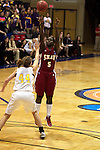 23 MAR 2012: Aslea Williams (5) of Shaw puts up a shot over Kari Daugherty (44) of Ashland University during the Division II Womens Basketball Championship held at Bill Greehey Arena in San Antonio, TX.  Shaw University defeated Ashland University 88-82 for the national title.  Rodolfo Gonzalez/ NCAA Photos