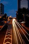 Traffic lights streaking through downtown Tucson, Arizona