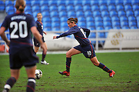 Carli Lloyd winds up to set up her goal.  The USA captured the 2010 Algarve Cup title by defeating Germany 3-2, at Estadio Algarve on March 3, 2010.