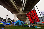 The current location of Camp Dignity is under the west end of the Fremont Bridge which provides some shelter from the elements but also a significant level of road noise. The group of homeless individuals have desires to have a permanent site in which to live.