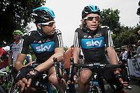 Giro d'Italia stage 13.Savano-Cervere: 121km..Juan Antonio Flecha & Rigoberto Uran before the race