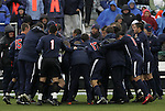 13 December 2009: Virginia players huddle before the game. The University of Akron Zips played the University of Virginia Cavaliers at WakeMed Soccer Stadium in Cary, North Carolina in the NCAA Division I Men's College Cup Championship game.