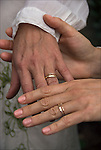 Close up of hands and wedding rings of Leigh and Helena at their Sacred Union Commitment Marriage Celebration<br /> <br /> Release # 2528