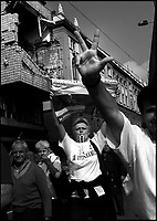 2001.07.02 Nationalist serbs protests following the extradition of Slobodan Milosevic  to the war crimes court in Haag. Beograd, Serbia, Yugoslavia.