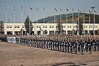 L'AQUILA (AQ) 21/06/2012 - 238° ANNIVERSARIO DELLA SCUOLA GUARDIA DI FINAZA A L'AQUILA, PRESENTI ALLA FESTA IL PRESIDENTE DELLO STATO GIORGIO NAPOLITANO E IL PREMIER MARIO MONTI. NELLA FOTO PIAZZALE 6 APRILE CON I CORPI DELLA GDF SCHIERATI PER LA PARATA. FOTO DI LORETO ADAMO