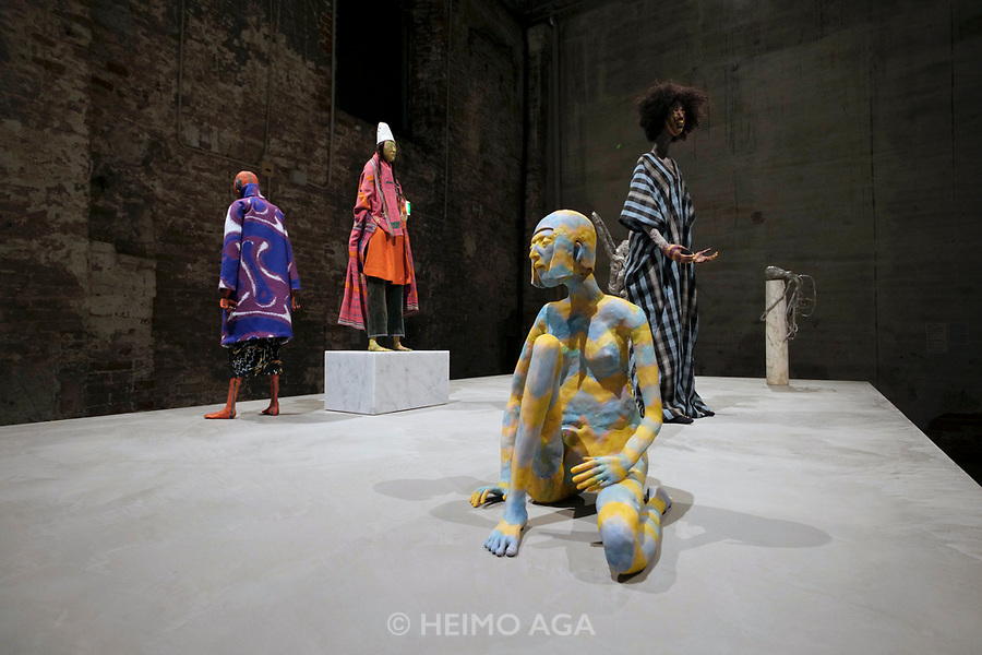 57th Art Biennale in Venice - Viva Arte Viva.<br /> Arsenale. Sculptures by Francis Upritchard.