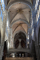 Rood screen, nave of Avila Cathedral, 12th-14th centuries, Avila, Castile and Leon, Spain. Begun, 1095, in Romanesque style with fortifications, the style later switched to Gothic. Picture by Manuel Cohen