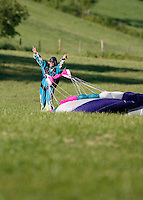 Happy skydiver after landing. The Extremesport Week, Ekstremsportveko, is the worlds largest gathering of adrenalin junkies. In the small town of Voss enthusiasts in a varitety of extreme sports come togheter every summer to compete and play. Norway..©Fredrik Naumann/Felix Features.