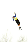 14 January 2005 - Lake Placid, New York, USA - Jeret Peterson from the USA competes in the FIS World Cup Aerial acrobatic competition at the MacKenzie-Intervale Ski Jumping Complex, in Lake Placid, NY. Peterson ended the day in 7th place after a weather induced one-jump competition...Mandatory Credit: Ed Wolfstein Photo.