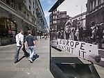 Sign: Euope wasn't it. downtown along  Alexander Bulivard, Belgrade, Serbia