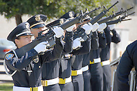 The Santa Monica Police Department  fired off a twenty-one-gun salute at City Hall during  the Police/Fire Public Safety Memorial on Thursday, May 13, 2010. The memorial recognized public safety officers who gave their lives in the line of duty to protect the citizens of Santa Monica..