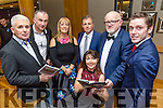 At the St Brendan's Hurling Club Strictly Come Dancing in Ballyroe Heights Hotel on Saturday were Mike O'Halloran, Judge, Stephen Wallace, Judge, Geraldine Delaney, Chairperson, Mary O'Donnell, Timmy Moynihan, Murt Murphy MC, and Jonathan Collins, Manager Ballyroe Heights Hotel