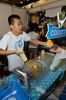 """""""Kakigori"""" shaved ice food stall, Hyper Japan 2014, Earls Court, London, UK, July 25, 2014. Hyper Japan is the UK's largest Japanese culture event. It took place at the Earls Court exhibition space from 25 to 27 July 2014."""
