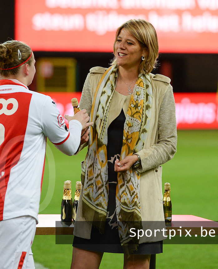 20150508 - LIEGE , BELGIUM : beneleague manager Ingrid Vanherle pictured during the soccer match between the women teams of Standard de Liege Femina and PSV Eindhoven , on the 26th and last matchday of the BeNeleague competition Friday 8 th May 2015 in Stade Maurice Dufrasne in Liege . PHOTO DAVID CATRY