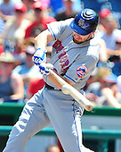 New York Mets first baseman Daniel Murphy (28) connects in the first inning against the Washington Nationals at Nationals Park in Washington, D.C. on Sunday, July 31, 2011.  Murphy reached base on a throwing error by Ryan Zimmerman..Credit: Ron Sachs / CNP.(RESTRICTION: NO New York or New Jersey Newspapers or newspapers within a 75 mile radius of New York City)
