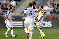 Landon Donovan (10) of the Los Angeles Galaxy celebrates scoring a goal during a Major League Soccer (MLS) match against the Philadelphia Union at PPL Park in Chester, PA, on May 11, 2011.