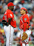 13 April 2008: Washington Nationals' pitcher Ray King (left) converses with catcher Paul Lo Duca on the mound during a game against the Atlanta Braves at Nationals Park, in Washington, DC. The Nationals ended their 9-game losing streak by defeating the Braves 5-4 in the last game of their 3-game series...Mandatory Photo Credit: Ed Wolfstein Photo