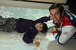 Official opening of the sensory room at  Crug Glas School in Swansea sponsored by BT and the Lord Taverners...Welsh Paralympian Nathan Stephens who opened the sensory room with pupil Sean Harries..05.12.12..©Steve Pope