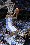 01 December 2015: North Carolina's Marcus Paige catches a pass with his head in the net. The University of North Carolina Tar Heels hosted the University of Maryland Terrapins at the Dean E. Smith Center in Chapel Hill, North Carolina in a 2015-16 NCAA Division I Men's Basketball game. UNC won the game 89-81.