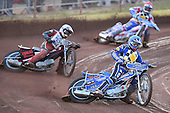 Heat 5: Ben Hopwood (blue) out in front - Hackney Hawks vs Team America - Speedway Challenge Meeting at Rye House - 09/04/11 - MANDATORY CREDIT: Gavin Ellis/TGSPHOTO - Self billing applies where appropriate - Tel: 0845 094 6026