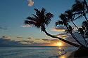 Man in surf at sunset on Kaanapali Beach at Hyatt Regency Resort, Maui, Hawaii.