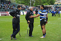 Robbie Fruean of Bath Rugby has a chat with Bath Rugby groundsmen after the match. Aviva Premiership match, between Bath Rugby and Gloucester Rugby on April 30, 2017 at the Recreation Ground in Bath, England. Photo by: Patrick Khachfe / Onside Images