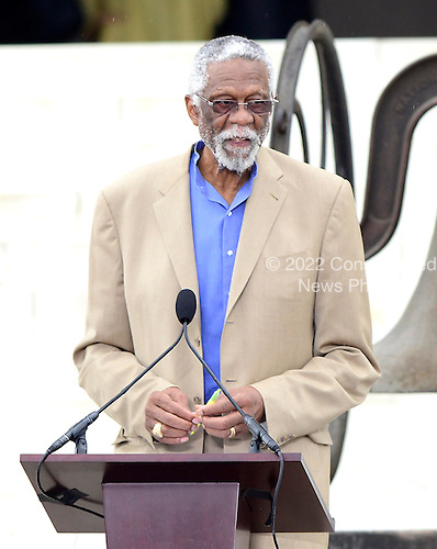 Bill Russell makes remarks at the Let Freedom Ring ceremony on the steps of the Lincoln Memorial to commemorate the 50th Anniversary of the March on Washington for Jobs and Freedom<br /> Credit: Ron Sachs / CNP