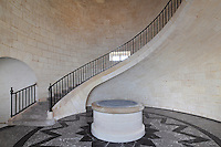 Staircase of the Salle des Girondins or Salle des Bordelais, built by Joseph Teulere in the 18th century, at the Phare de Cordouan or Cordouan Lighthouse, built 1584-1611 in Renaissance style by Louis de Foix, 1530-1604, French architect, located 7km at sea, near the mouth of the Gironde estuary, Aquitaine, France. This is the oldest lighthouse in France. There are 4 storeys, with keeper apartments and an entrance hall, King's apartments, chapel, secondary lantern and the lantern at the top at 68m. Parabolic lamps and lenses were added in the 18th and 19th centuries. The lighthouse is listed as a historic monument. Picture by Manuel Cohen