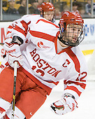 Chris Connolly (BU - 12) - The Harvard University Crimson defeated the Boston University Terriers 5-4 in the 2011 Beanpot consolation game on Monday, February 14, 2011, at TD Garden in Boston, Massachusetts.
