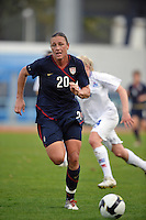 US Women's National Team star forward Abby Wambach dribbles up field against Iceland at VIla Real Sto. Antonio during the 2010 Algarve Cup in Portugal.