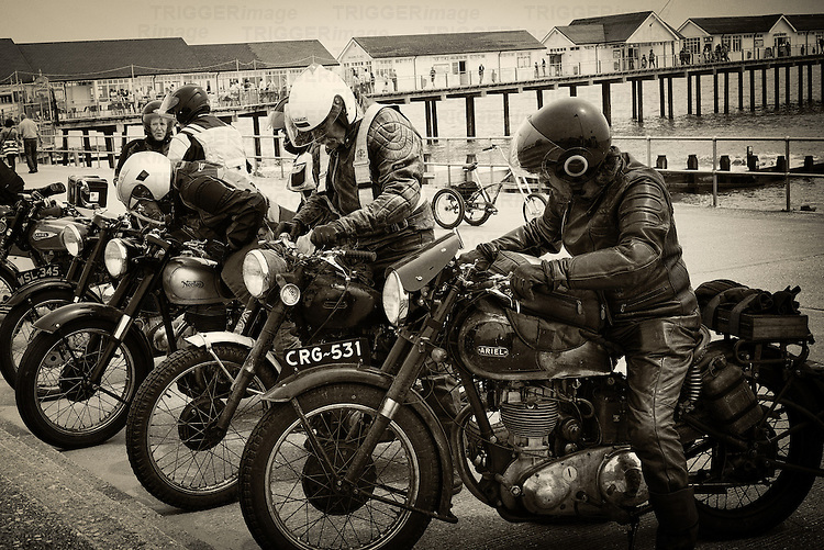 Old motorbikes at Southwold Pier in Suffolk, UK