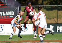 COLLEGE PARK, MD - OCTOBER 21, 2012:  Becky Kaplan (19) of the University of Maryland watches Tiffany McCarty (14) of Florida State control a high ball  during an ACC women's match at Ludwig Field in College Park, MD. on October 21. Florida won 1-0.