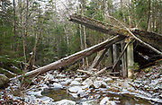 Side view of collapsed timber bridge at the Sokokis Brook crossing along the abandoned Mt Washington Branch of the Boston and Maine (B&M) Railroad in the White Mountains, New Hampshire USA. The Mt Washington Branch was built by the Boston, Concord & Montreal Railroad and completed in 1876. This branch traveled from the Fabyan House to the base of the Cog. The branch was closed in June 1932 (+/-)