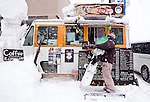 A mobile store selling coffee and other fare outside a ski run in Hirafu in the Niseko ski region of Hokkaido, Japan on Feb. 9 2010.