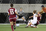 02 December 2011: Stanford's Kristy Zurmuhlen (18) scores past Florida State's Kelsey Wys (19). The Stanford University Cardinal defeated the Florida State University Seminoles 3-0 at KSU Soccer Stadium in Kennesaw, Georgia in an NCAA Division I Women's Soccer College Cup semifinal game.
